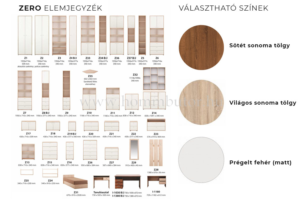 ZERO szekrény 4 ajtós 2 polcos 72x196 cm